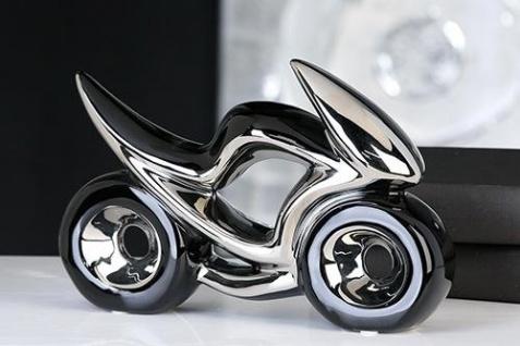 Skulptur Motorrad RACE 23cm schwarz silber Keramik Bike Chopper Dekoration