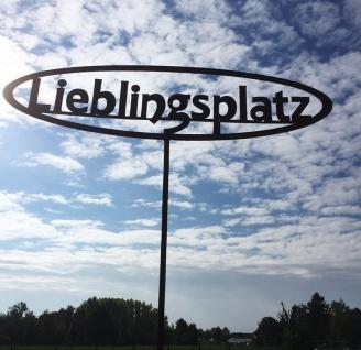 LIEBLINGSPLATZ 50 x 13cm + Stab Gartenstecker Rost Edelrost Metall