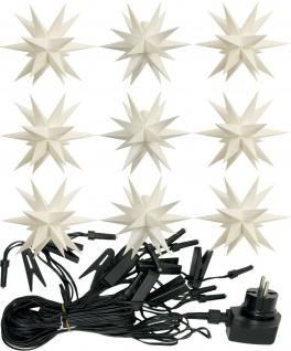 9er LED Sternenkette WEISS 3D Lichterkette Stern Weihnachtsstern außen & innen - Vorschau 3