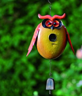 Vogelhaus Eule 20cm zum Aufhängen Metall bunt bemalt Nistkasten Vögel witzig