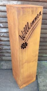 Säule WILLKOMMEN mit Blume Höhe 110cm zum Beleuchten Edelrost Rost Podest - Vorschau 2