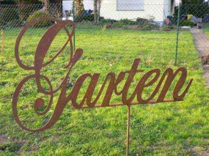 Schild GARTEN Gartenstecker Beetstecker Schriftzug Rost Edelrost Metall