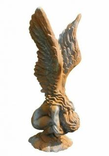 Hockende Engelfrau Rachel 70cm Rosteffekt Engel Skulptur Steinfigur Steinguss