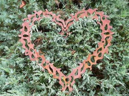 Ornament Herz Edelrost Rost Türschild Gartendekoration Grabschmuck Grab Friedhof
