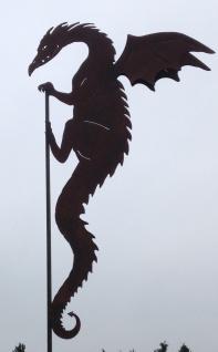 DRACHE DRACO kletternd Doppelflügel 115x28cm Edelrost Rost Gartenstecker