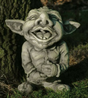 Troll Aiko H46cm lachend fröhlich Skulptur Steinfigur Steinguss Vidroflor Kobold