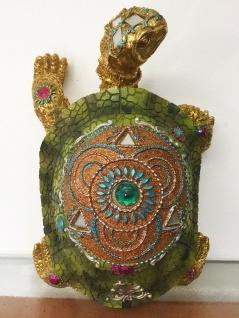 SCHILDKRÖTE INDIA L23cm grün bunt mit Steinen Tier Figur Skulptur Indian Style - Vorschau 4