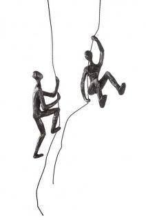 2er Set SCRAMBLE H50cm Kletterer am Seil kletternd silber finish Skulptur Hänger