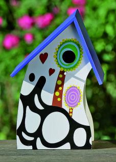 Vogelhaus Happy 30x20cm bunt bemalt Holz Nistkasten Vogelnest Vögel
