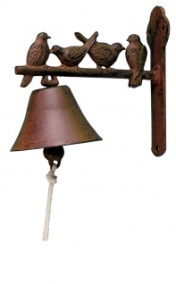 Antike GLOCKE MIT VÖGEL H20cm braun Gusseisen Dekoration Klingel Ornament Vogel