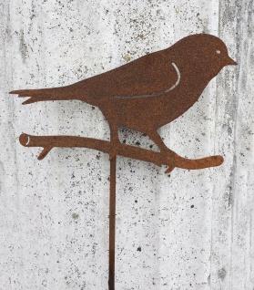VOGEL AUF ZWEIG Gartenstecker H40cm Vögel Rost Edelrost Gartendeko Topfstecker