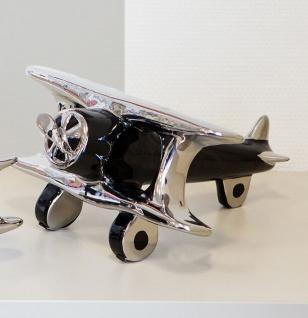 Skulptur FLUGZEUG DOPPELDECKER 20cm schwarz / silber Flieger Keramik air plane