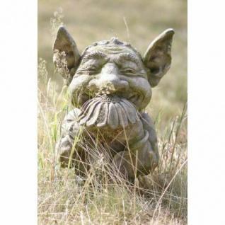Troll Arvid H46cm riecht an Blume Skulptur Steinfigur Steinguss Vidroflor Kobold