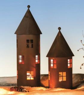 TURM 43cm kl./ 57cm gr. Windlicht Teelicht Vogelhaus Futterstation Edelrost Rost