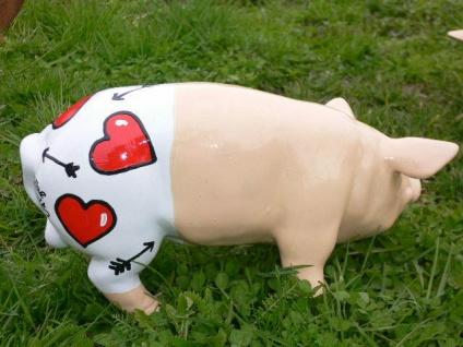 SCHWEIN Tattoo FÜR MAMA hand bemalt L30cm Designer Schwein Muttertag Herz Garten - Vorschau 2