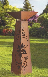 SÄULE Trapez inkl. Schale zum Beleuchten Höhe 116cm Edelrost Rost Ornament