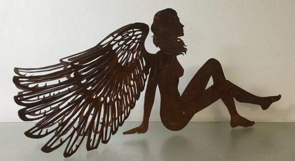 ENGEL sitzend 3D Doppelflügel 60 x 25 cm Edelrost Weihnachtsengel Elfe Advent
