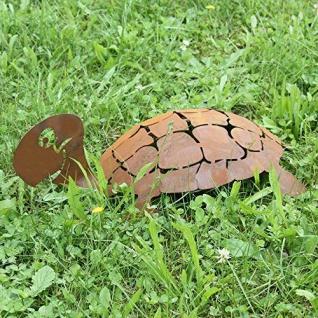 Schildkröte 3D Schildi 45cm Rost Edelrost Metall Rostfigur Gartendeko Teichdeko - Vorschau 2