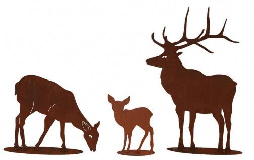 Familie Hirsch 100x75cm mit Reh 50x63cm und Kitz 40x30cm Rost Edelrost Metall