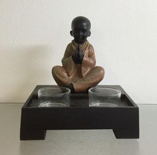 MÖNCH BETEND AUF PODEST MIT TEELICHT H16, 5cm Buddha Glas Feng Shui Deko Skulptur