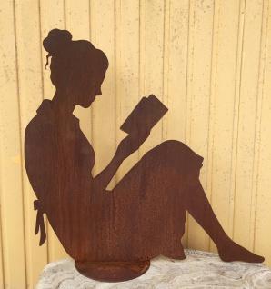 Frau liest Buch 80x88cm Rost Edelrost Metall Rostfigur Lesende Dekoration