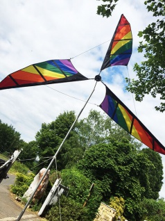 Riesen Windrad XL Rainbow Höhe 4, 20m Ø2m SolarMax Polyestertuch Fiberglasstab