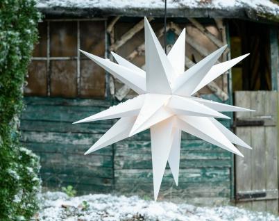 Außenstern WEISS XXL 3D Weihnachtsstern 100cm 18 Zacken Leucht Stern 4m Kabel