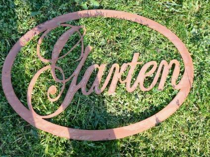 Schild GARTEN 64x44cm oval zum Hängen Türschild Gartendeko Rost Edelrost Metall - Vorschau 2