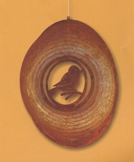 WINDSPIEL VOGEL D18cm SPATZ Rost Edelrost Metall Figur Rostfigur Spirale Kreis