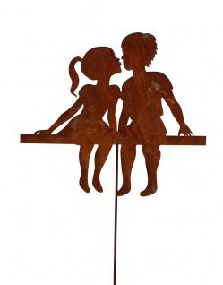 Mädchen und Junge küssend 52x60cm Gartenstecker Edelrost Rost Kinder Paar