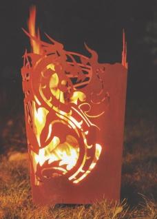 FEUERKORB DRACHE Höhe 65cm Feuersäule Feuerdrache Edelrost Rost Holzkohle