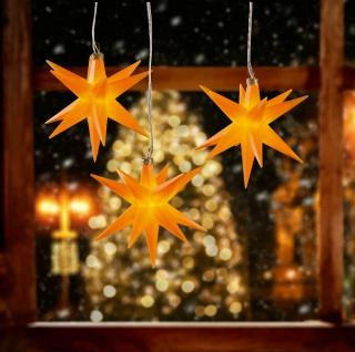 3er LED Sternenkette GELB 3D Lichterkette Stern Weihnachtsstern außen & innen
