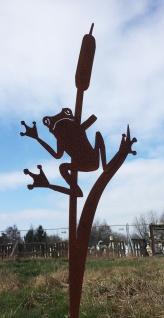 Frosch an Schilf 120 cm Rost Edelrost Gartendeko Gartenstecker Teich Dekoration