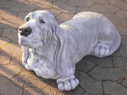 Steinfigur Basset Hound L75cm lebensgroß Hund Hunde Steinguss Jagdhund