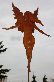 Engel GRAZIA Doppelflügel H40cm + Stab Gartenstecker Rost Edelrost Weihnachten