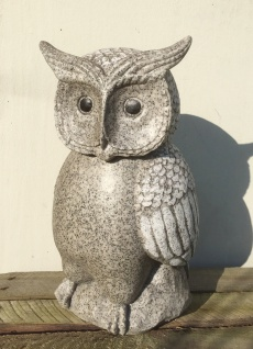 Eule Granit farben 32cm Polyresin Garten Figur Uhu Vogel Outdoor frostfest