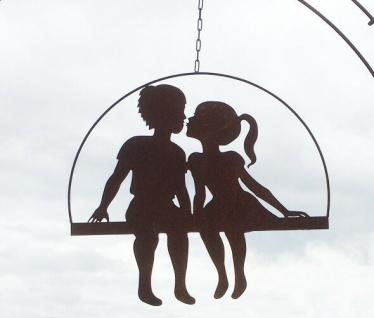 Mädchen und Junge küssend 55x60cm zum Aufhängen Edelrost Rost Kinder Paar