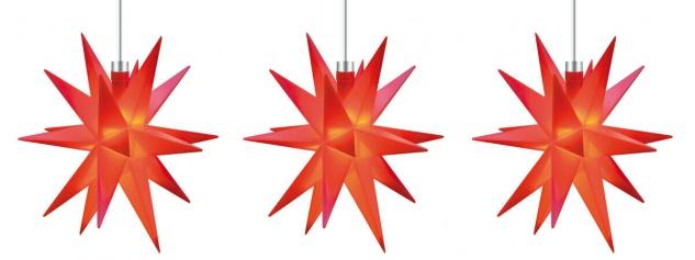 3er LED Sternenkette 12cm rot Batterie Innen Lichterkette Stern Weihnachten