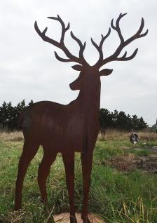 HIRSCH mit grossem GEWEIH XL 150x90cm Rost Edelrost Tier Rosthirsch Garten Deko