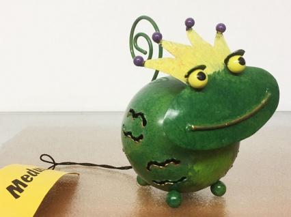 Medusa FROSCHKÖNIG S H10cm Metall Figur handbemalt bunt Frosch Krone Kröte