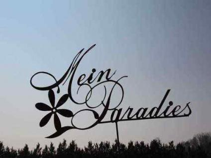 MEIN PARADIES Schild Gartenstecker Beetstecker Schriftzug Rost Edelrost Metall