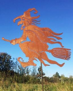 Alte Hexe fliegend Hexen 50 cm Rost Edelrost Metall Figur Gartenstecker