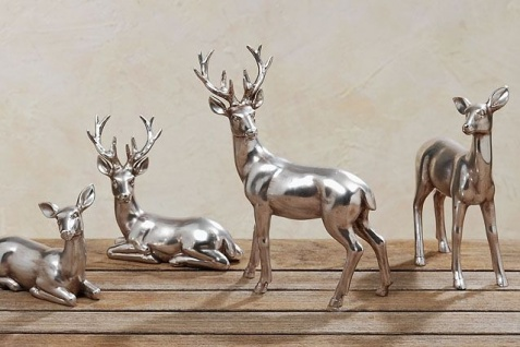 HIRSCH + REH LIEGEND / STEHEND silber antik Dekoration Weihnachten Hirsche Rehe