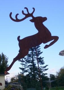 Rentier springend 40x120cm Hirsch Reh Rost Edelrost Metall Figur Gartenstecker