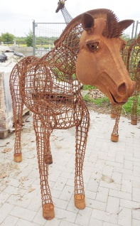 Pferd METEOR 3D lebensgroß XL 140x180cm Eisen Rost Edelrost Metall Tier Garten