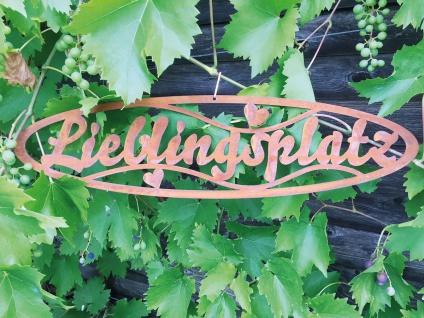 Schild LIEBLINGSPLATZ 50x13cm zum Aufhängen Edelrost Garten Metall Wandhänger