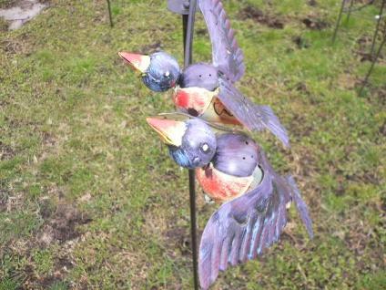 Windspiel Vögel blau bunt Metall 60x120cm Wind Wippe Vogel Pendel Gartenstecker - Vorschau 3