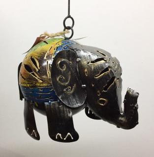 CRAZY ELEFANT bunt 17x25cm Windlicht Metall zum Hängen Tier Figur Teelicht