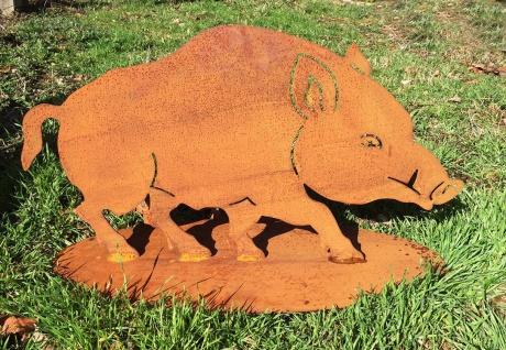 Wildschwein 68 x 38 cm Rost Edelrost Gartendekoration Schwein Keiler Dekoration
