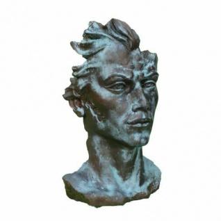Portrait Gesicht MANN H88cm Bronze Optik Skulptur Steinfigur Steinguss Vidroflor